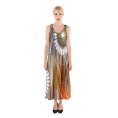 Floral Abstract Pattern Background Sleeveless Maxi Dress