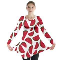 Fruit Watermelon Seamless Pattern Long Sleeve Tunic