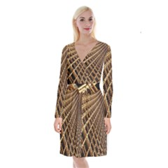 Construction Site Rusty Frames Making A Construction Site Abstract Long Sleeve Velvet Front Wrap Dress