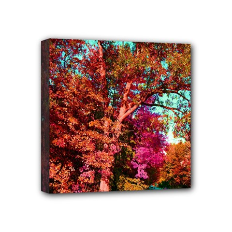 Abstract Fall Trees Saturated With Orange Pink And Turquoise Mini Canvas 4  X 4