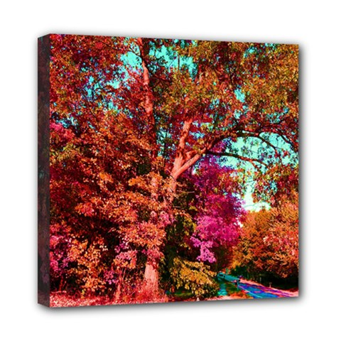 Abstract Fall Trees Saturated With Orange Pink And Turquoise Mini Canvas 8  X 8  by Nexatart