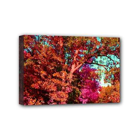 Abstract Fall Trees Saturated With Orange Pink And Turquoise Mini Canvas 6  X 4  by Nexatart