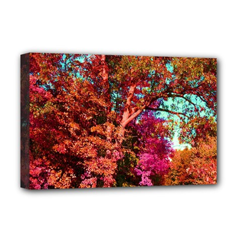 Abstract Fall Trees Saturated With Orange Pink And Turquoise Deluxe Canvas 18  X 12   by Nexatart