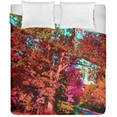 Abstract Fall Trees Saturated With Orange Pink And Turquoise Duvet Cover Double Side (california King Size) by Nexatart