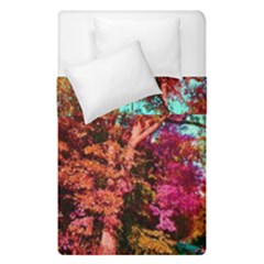 Abstract Fall Trees Saturated With Orange Pink And Turquoise Duvet Cover Double Side (single Size) by Nexatart