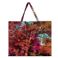 Abstract Fall Trees Saturated With Orange Pink And Turquoise Zipper Large Tote Bag by Nexatart