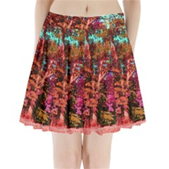 Abstract Fall Trees Saturated With Orange Pink And Turquoise Pleated Mini Skirt by Nexatart