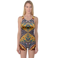 Kaleidoscopic Pattern Colorful Kaleidoscopic Pattern With Fabric Texture One Piece Boyleg Swimsuit