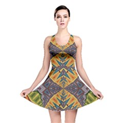 Kaleidoscopic Pattern Colorful Kaleidoscopic Pattern With Fabric Texture Reversible Skater Dress