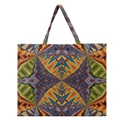 Kaleidoscopic Pattern Colorful Kaleidoscopic Pattern With Fabric Texture Zipper Large Tote Bag by Nexatart