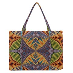 Kaleidoscopic Pattern Colorful Kaleidoscopic Pattern With Fabric Texture Medium Zipper Tote Bag by Nexatart