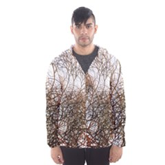 Digitally Painted Colourful Winter Branches Illustration Hooded Wind Breaker (men)