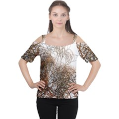 Digitally Painted Colourful Winter Branches Illustration Women s Cutout Shoulder Tee