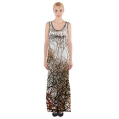 Digitally Painted Colourful Winter Branches Illustration Maxi Thigh Split Dress by Nexatart