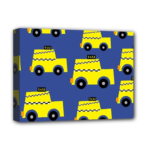 A Fun Cartoon Taxi Cab Tiling Pattern Deluxe Canvas 16  X 12   by Nexatart
