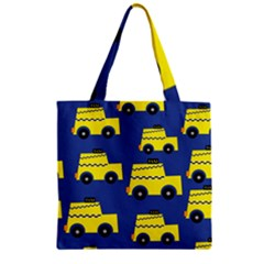 A Fun Cartoon Taxi Cab Tiling Pattern Zipper Grocery Tote Bag by Nexatart