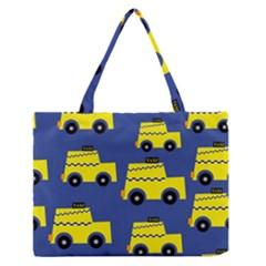 A Fun Cartoon Taxi Cab Tiling Pattern Medium Zipper Tote Bag