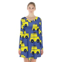 A Fun Cartoon Taxi Cab Tiling Pattern Long Sleeve Velvet V Neck Dress