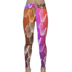 Clipart Hands Background Pattern Classic Yoga Leggings