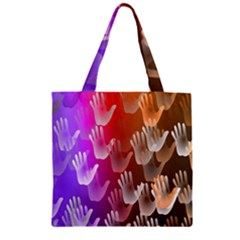 Clipart Hands Background Pattern Zipper Grocery Tote Bag