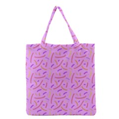 Confetti Background Pattern Pink Purple Yellow On Pink Background Grocery Tote Bag by Nexatart