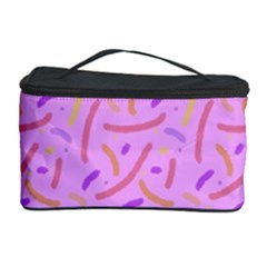 Confetti Background Pattern Pink Purple Yellow On Pink Background Cosmetic Storage Case by Nexatart