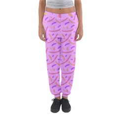 Confetti Background Pattern Pink Purple Yellow On Pink Background Women s Jogger Sweatpants