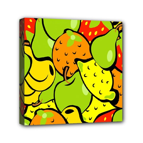 Digitally Created Funky Fruit Wallpaper Mini Canvas 6  X 6  by Nexatart