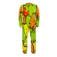 Digitally Created Funky Fruit Wallpaper Onepiece Jumpsuit (kids) by Nexatart