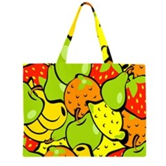 Digitally Created Funky Fruit Wallpaper Zipper Large Tote Bag by Nexatart