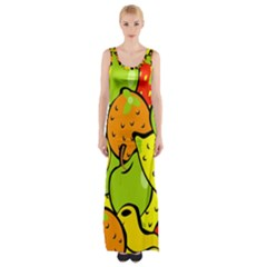 Digitally Created Funky Fruit Wallpaper Maxi Thigh Split Dress