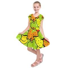 Digitally Created Funky Fruit Wallpaper Kids  Short Sleeve Dress by Nexatart