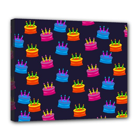 A Tilable Birthday Cake Party Background Deluxe Canvas 24  X 20   by Nexatart