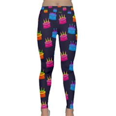 A Tilable Birthday Cake Party Background Classic Yoga Leggings