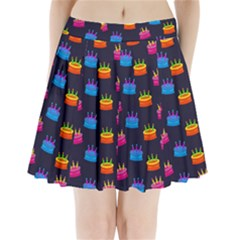 A Tilable Birthday Cake Party Background Pleated Mini Skirt