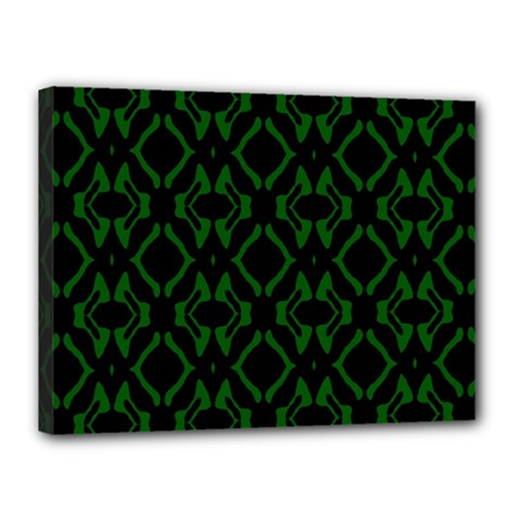 Green Black Pattern Abstract Canvas 16  X 12  by Nexatart