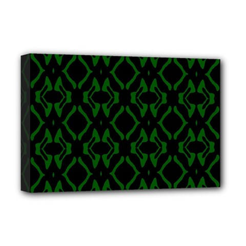 Green Black Pattern Abstract Deluxe Canvas 18  X 12