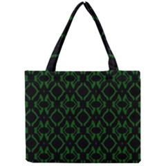 Green Black Pattern Abstract Mini Tote Bag
