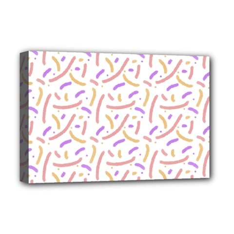 Confetti Background Pink Purple Yellow On White Background Deluxe Canvas 18  X 12