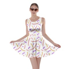 Confetti Background Pink Purple Yellow On White Background Skater Dress