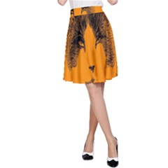 Cat Graphic Art A Line Skirt
