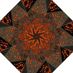 Abstract Lighted Wallpaper Of A Metal Starburst Grid With Orange Back Lighting Straight Umbrellas by Nexatart