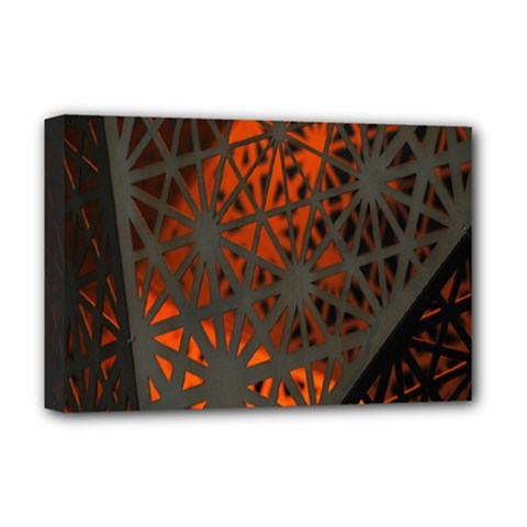 Abstract Lighted Wallpaper Of A Metal Starburst Grid With Orange Back Lighting Deluxe Canvas 18  X 12