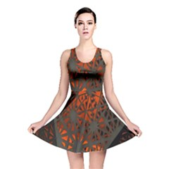Abstract Lighted Wallpaper Of A Metal Starburst Grid With Orange Back Lighting Reversible Skater Dress