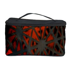 Abstract Lighted Wallpaper Of A Metal Starburst Grid With Orange Back Lighting Cosmetic Storage Case by Nexatart