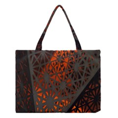 Abstract Lighted Wallpaper Of A Metal Starburst Grid With Orange Back Lighting Medium Tote Bag by Nexatart