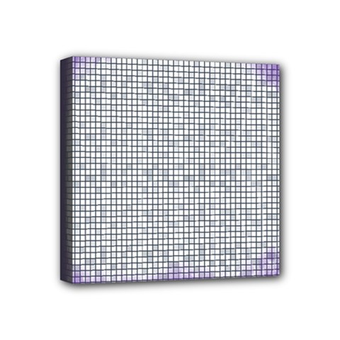 Purple Square Frame With Mosaic Pattern Mini Canvas 4  X 4  by Nexatart