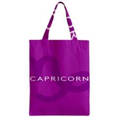 Zodiac Capricorn Purple Zipper Classic Tote Bag by Mariart