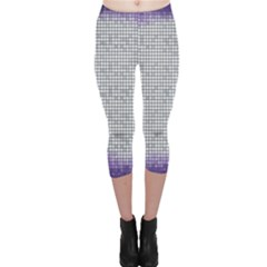 Purple Square Frame With Mosaic Pattern Capri Leggings