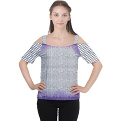 Purple Square Frame With Mosaic Pattern Women s Cutout Shoulder Tee